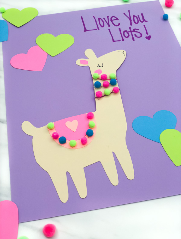 closeup of llama valentine card