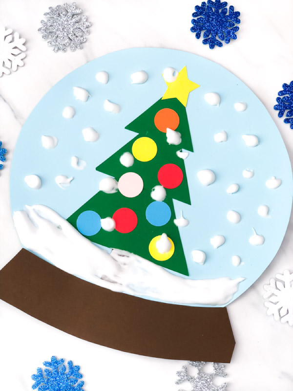 winter craft for kids: paper snowglobe
