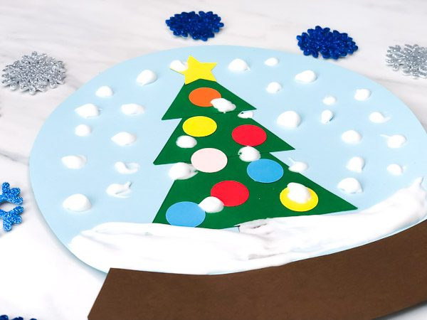 closeup of snowglobe craft for kids