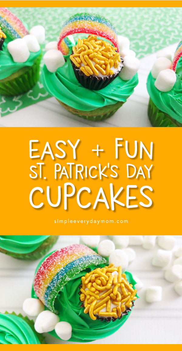 Easy St. Patricks Day Cupcakes For Kids | Transform plain box mix into these fun and magical cupcakes! #stpatricksday #stpattysday #stpaddysday #cupcakes #kidsfood #desserts #baking #treats