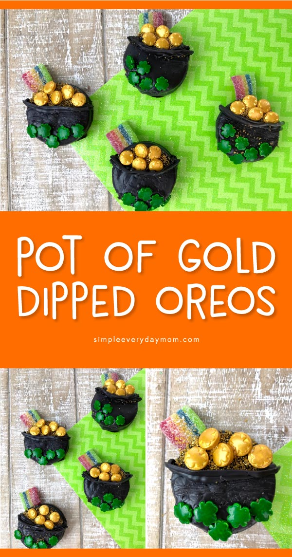 Pot Of Gold Cookies | Make these simple St. Patrick's Day treats for kids with this easy tutorial. #desserts #kids #kidsactivities #stpatricksday #dessertrecipes #oreos
