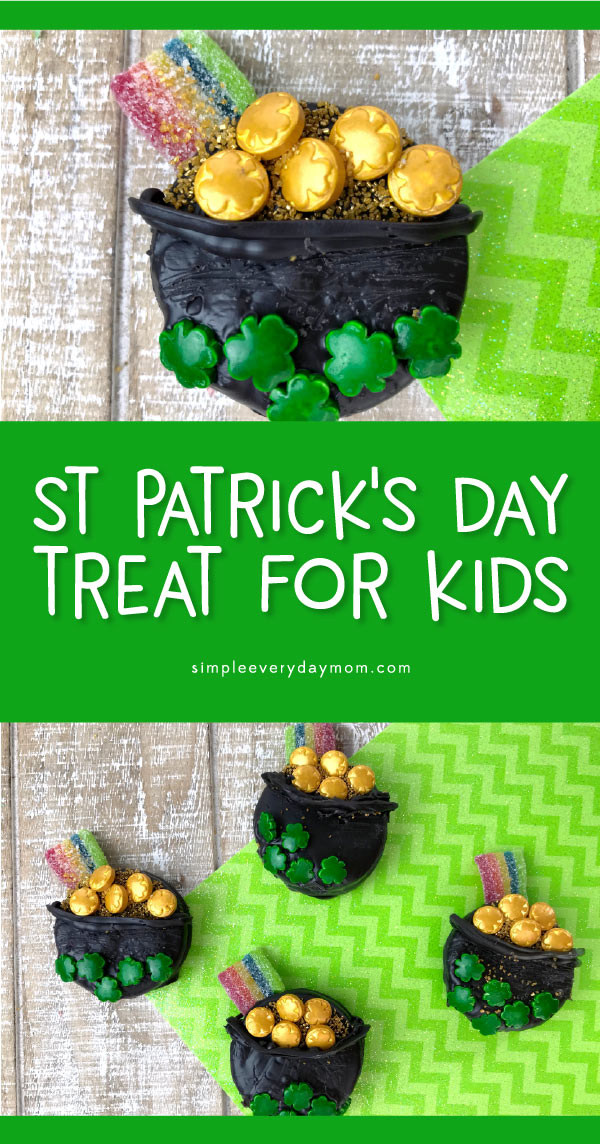 St. Patricks Day Dessert For Kids | Transform Oreos into a leprechaun's pot of gold with this easy tutorial! #oreos #dessertideas #kidsfood #stpatricksday #stpaddysday #treats #dessertrecipes