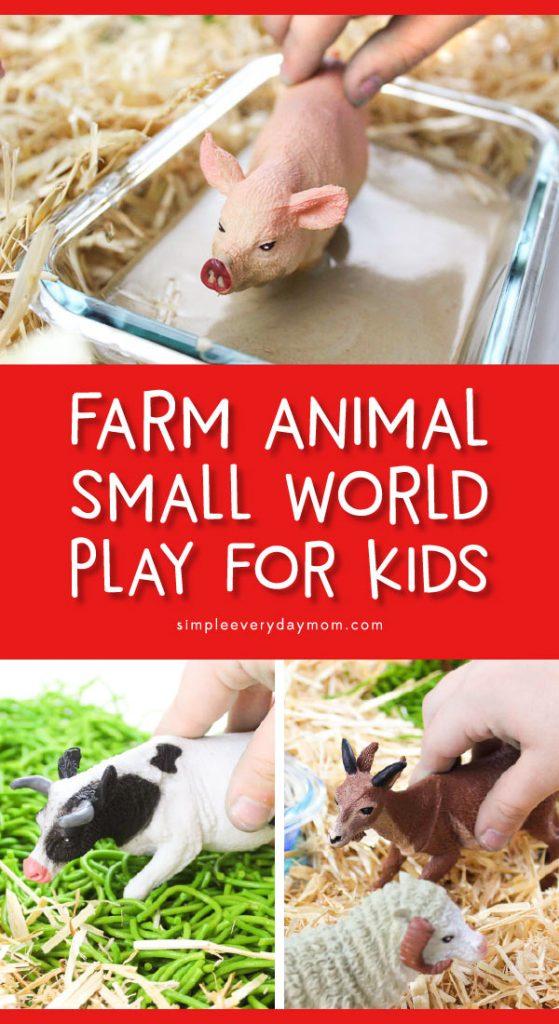 Farm Animal Small World Play | Toddlers, preschool and kindergarten kids will love this farm theme DIY sensory bin. #preschool #prek #kindergarten #toddlers #kidsactivities #smallworldplay #smallworld #sensorybin #sensoryplay #ece