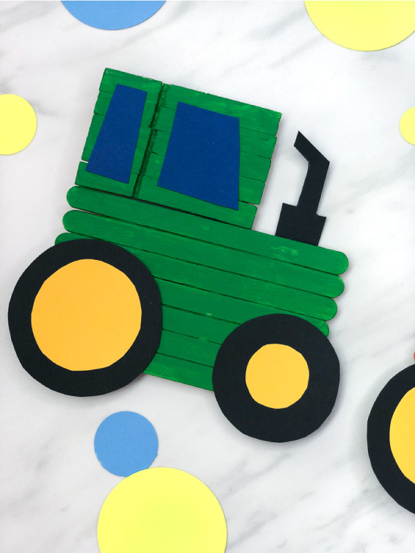 Tractor Craft For Kids | Boys and girls will love making this fun tractor that comes with a free printable template. Make them John Deere green, red or any color you'd like! #kids #kidsactivities #kidscrafts #craftsforkids #popsiclestickcrafts #elementary #teacher #teaching #farm #ideasforkids #kidsdiy