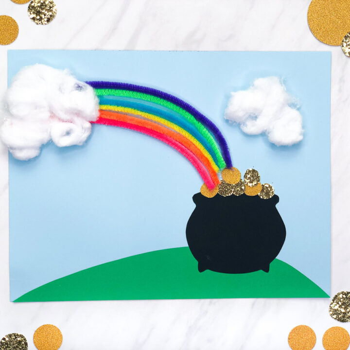 3d paper craft of rainbow and pot of gold