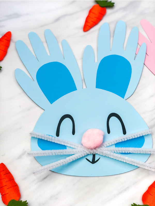 Bunny Craft For Kids | Make this easy handprint bunny rabbit for Easter or just for fun! It's great for using at home or in the classroom. #kids #toddlers #artprojects #bunnycrafts #craftsforkids #earlychildhood #teacher #teaching #ideasforkids #easter