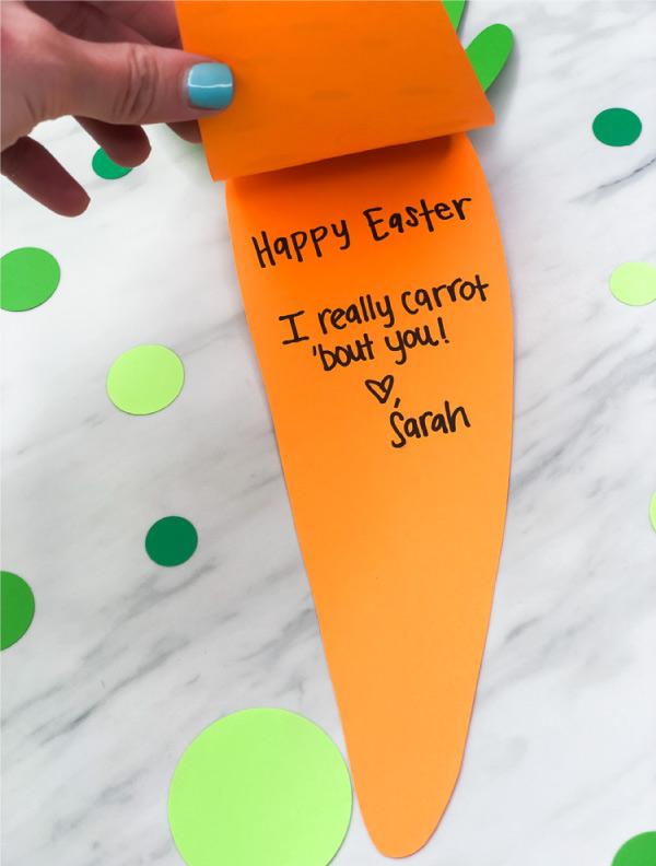 Easy Carrot DIY Easter Card Craft For Kids