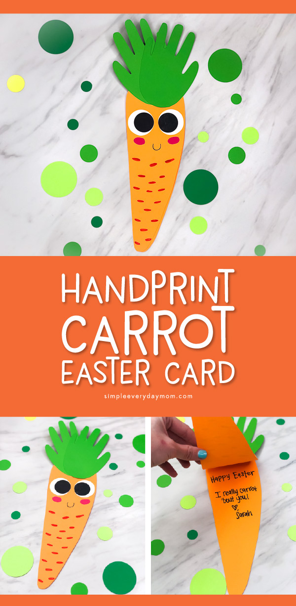 Carrot Craft For Kids | This easy Easter card craft is simple enough for toddlers, preschool and kindergarten kids to help with, plus it comes with a free printable template. Perfect for at home or in the classroom. #kids #kidsactivities #kidscrafts #craftsforkids #easter #eastercraftsforkids #eastercrafts #toddlers #preschool #kindergarten #elementary