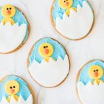Easy Chick Decorated Easter Cookies | Make these cute Easter egg sugar cookies for the kids this springtime! #eastercookies #sugarcookies #sugarcookierecipe #decoratedcookies #desserts #easter #easterfood #easterdesserts