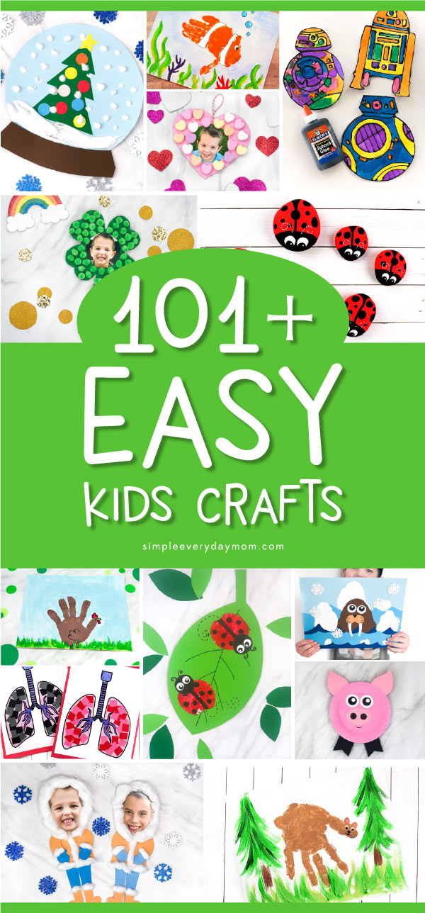Easy Kids Crafts | Toddlers, preschool and elementary children will love making these easy and fun crafts. #kids #kidscrafts #craftsforkids #kidsactivities #toddlers #preschool #kindergarten #ece #earlychildhood #crafts #kidsandparenting
