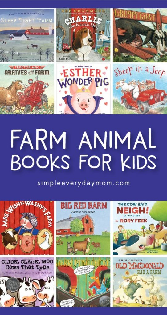 Farm Animal Books For Kids   Toddlers, preschool and kindergarten children will love reading these fun books all about farm animals! #kidsactivities #childrensbooks #kidsbooks #preschool #kindergarten #teachingkindergarten #toddler #prek #ece #earlychildhood #elementary