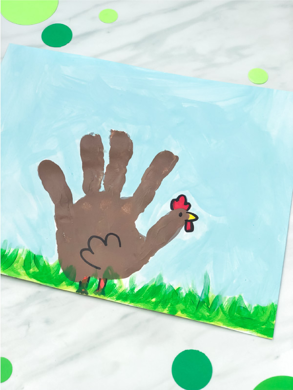 Handprint Craft For Kids   Toddlers, preschool and kindergarten kids will have fun making this chicken art project. It's great for when learning about the farm or for the spring time. #kids #kidsactivities #kidscrafts #craftsforkids #activitiesforkids #ece #earlychildhood #handprintcrafts #springcrafts #farm