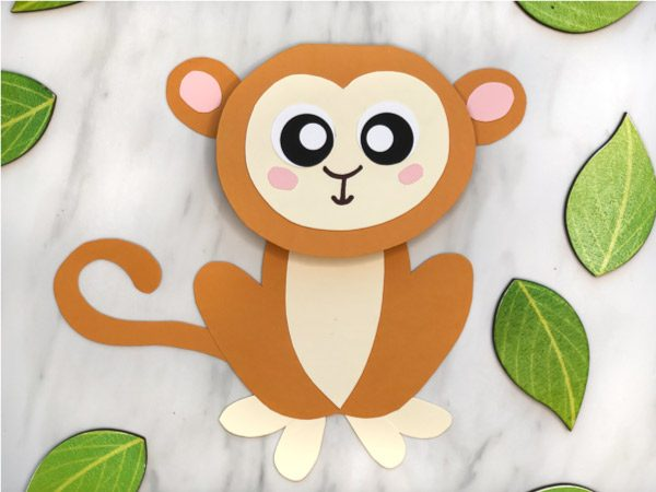 Jungle Animal Craft For Kids | Learn how to make this adorable monkey card craft that's great for Father's Day, Mother's Day or birthdays! #preschool #elementary #teachingkindergarten #teacher #junglecrafts #homemadecards #monkeycrafts #zoocrafts #kidsactivities #kidsandparenting