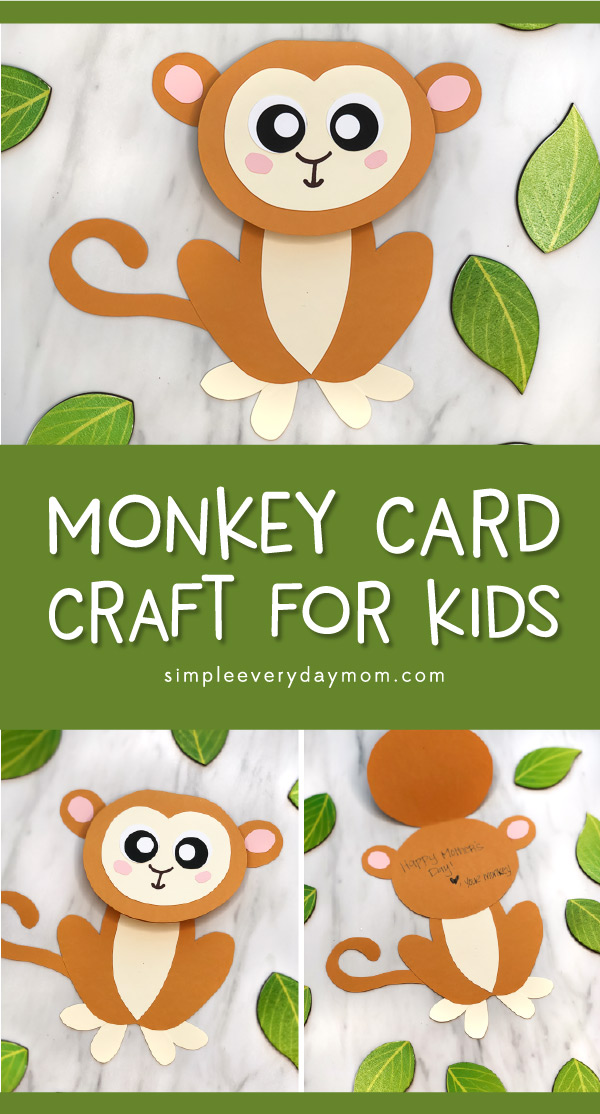 Monkey Craft For Kids | Make this easy DIY monkey card complete with free printable template. It's simple enough for kindergarten and elementary students, plus makes a great idea for Mother's Day cards, Father's Day, or for birthdays! #kids #kidscrafts #craftsforkids #kidsandparenting #teachingkindergarten #monkeycrafts #mothersdaycards #mothersdaycrafts #diycards #homemadecards #elementary #teacher #kindergarten #junglecrafts #animalcrafts