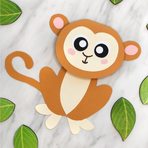 Zoo Animals Crafts For Kids | Make this easy and creative monkey card craft for special occasions. It comes with a free printable template and works great at home or in the classroom. #zoocrafts #zooanimals #animalcrafts #kidscrafts #craftsforkids #kindergarten #kidsactivities #classroom #freeprintables #kidsprintables #monkeycrafts
