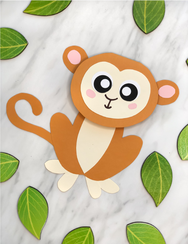 photo about Printable Crafts for Kids referred to as Lovable Monkey Craft For Young children (With Free of charge Printable Template)