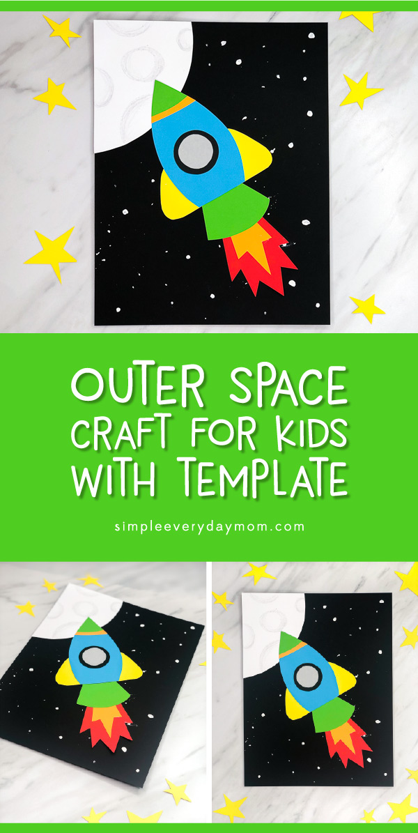 Rocket Craft For Kids | Make this easy DIY rocket ship craft at home or in the classroom. It's perfect for kindergarten and elementary and comes with a free printable template. #kids #kidsactivities #kidscrafts #craftsforkids #spacecrafts #preschool #preschoolactivities #preschoolcrafts #kindergarten #ece #elementary