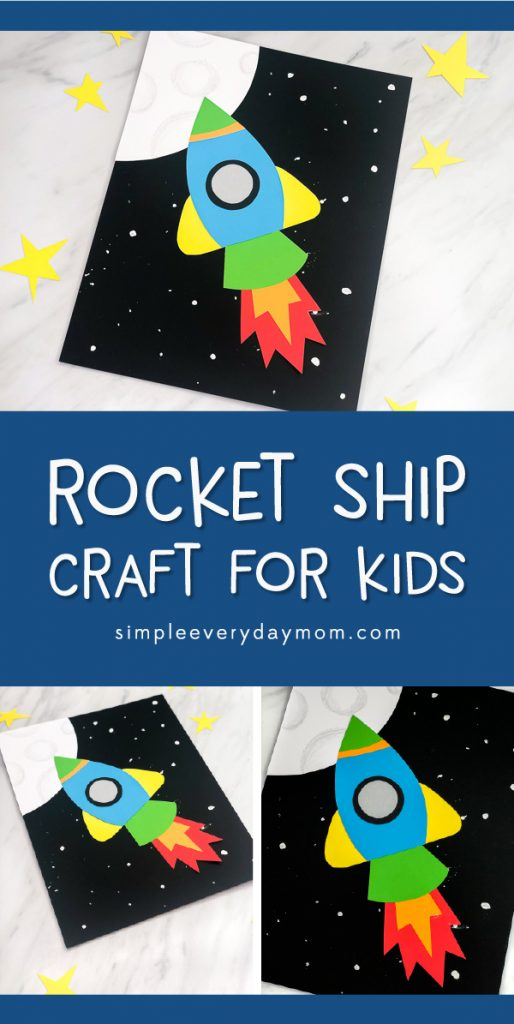 Outer Space Craft For Kids | This easy paper craft rocket ship is a fun activity for young kids! #preschool #kindergarten #teachingkindergarten #ece #earlychildhood #outerspacecrafts #kidscrafts #craftsforkids #kidsactivities #ideasforkids