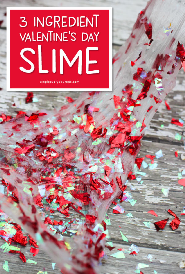 Easy Valentine Slime For Kids | Kids will have a blast playing with this confetti slime recipe that's so simple to make! All you need is some liquid starch, clear glue and confetti! #slime #sensory #sensoryplay #valentines #valentinesday #craftsforkids #kidscrafts #kidsactivities #activitiesforkids #slimerecipe #howtomakeslime #slimeforkids