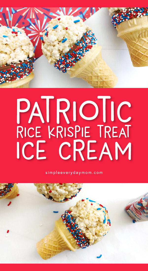 4th Of July Dessert Idea | This Independence Day, make these cute rice krispie treat faux ice cream cones the kids will love. You don't have to worry about them melting and they're easy and patriotic! #kids #kidsandparenting #patriotic #4thofjuly #fourthofjuly #dessertideas #ricekrispietreats #4thofjulydesserts #dessertsforkids