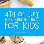 Patriotic Dessert Ideas For Kids | These 4th of July rice krispie treats are easy and fun for kids to make, plus they won't melt! #kids #cookingwithkids #bakingwithkids #nobakedessert #dessertideas #partyfood #holidayrecipes #ricekripsietreats