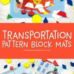 Transportation Pattern Block Mats | Download and print these puzzle mats to use in preschool or kindergarten. They're great for math centers and for learning shapes, patterns and more. #kids #kidscrafts #kidsactivities #kidsactivity #patternblockmats #stem #mathactivities #mathcenters #preschool #preschoolactivities #preschoolers #kindergarten #elementary #teacher #homeschool