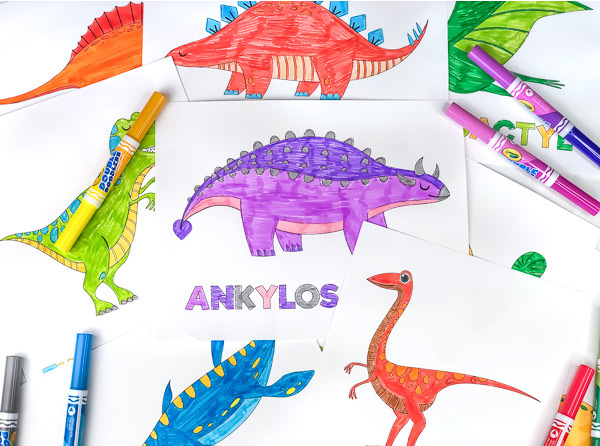 5 dinosaur coloring pages for kids