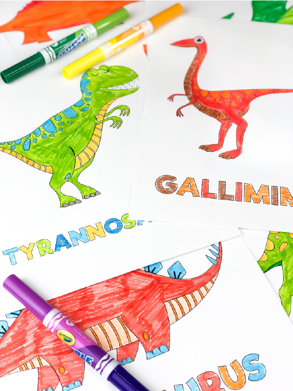 tree and gallimimus coloring page for kids