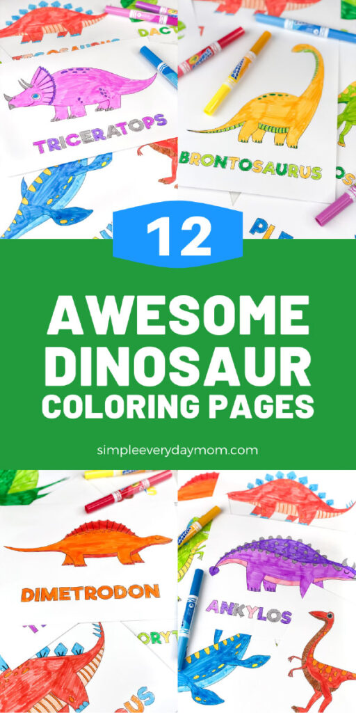 dinosaur coloring page image collage with the words 12 awesome dinosaur coloring pages