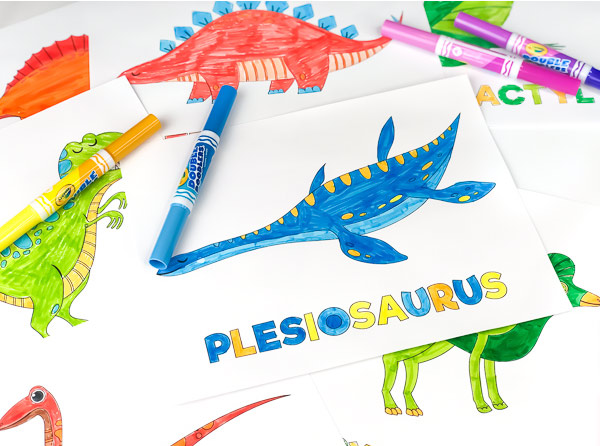 coloring page of a plesiosaurus