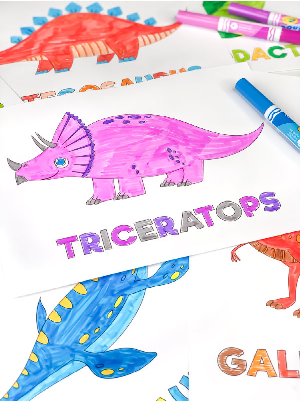 pink and purple triceratops coloring page