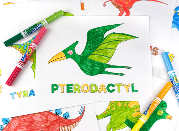 green and yellow pterodactyl coloring page