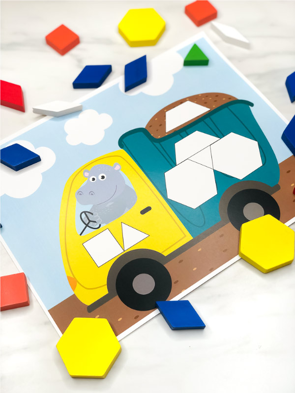 Kindergarten STEM Activity | Young children will love playing with these printable pattern block mats. They're an easy and fun math activity to introduce kids to shapes! #kidsandparenting #stem #stemactivities #ideasforkids #mathgames #mathactivities #patternblockmats #tangrams #preschool #elementary #classroom #mathcenters