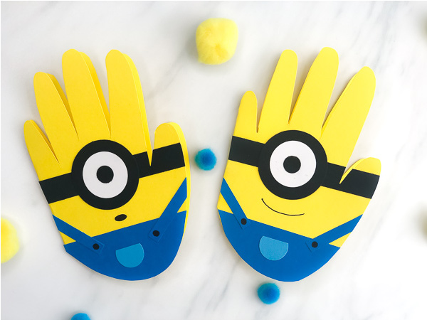 photo regarding You Re One in a Minion Printable identified as Very simple Handprint Minion Card Craft For Little ones