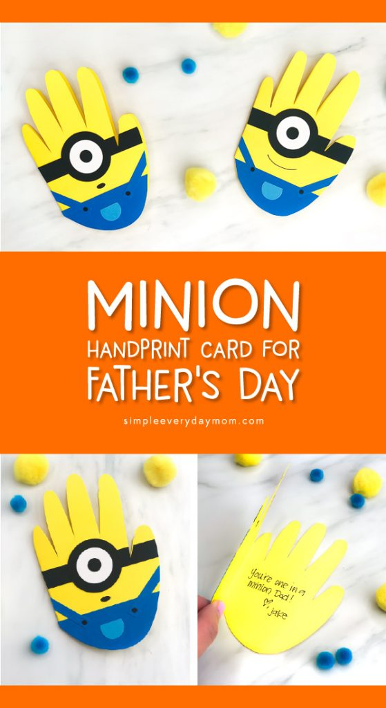 Father's Day Card Craft For Kids   Make this easy DIY minion card craft for Dad this Father's Day. It's a cute handprint idea Dad will treasure for years! #fathersday #fathersdaycrafts #fathersdaycards #handprintcrafts #handprintart #minion #minioncrafts #toddlers #preschoolers #kidsdiy #easykidscrafts #homemadecards