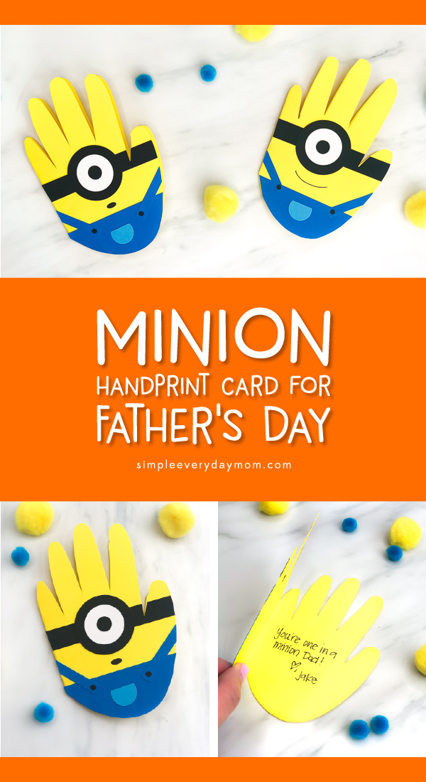 Father's Day Card Craft For Kids | Make this easy DIY minion card craft for Dad this Father's Day. It's a cute handprint idea Dad will treasure for years! #fathersday #fathersdaycrafts #fathersdaycards #handprintcrafts #handprintart #minion #minioncrafts #toddlers #preschoolers #kidsdiy #easykidscrafts #homemadecards