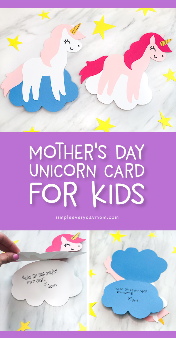Mother's Day Unicorn Craft For Kids | Make this easy and cute DIY unicorn card to give to Mom or Grandma for Mother's Day. It's a simple paper craft and comes with a free printable template. #unicorns #unicorncrafts #mothersday #mothersdaycrafts #preschool #preschoolers #kindergarten #kids #kidsandparenting #kidscrafts #craftsforkids #mothersdaycards #simpleeverydaymom