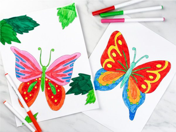 2 butterfly coloring pages