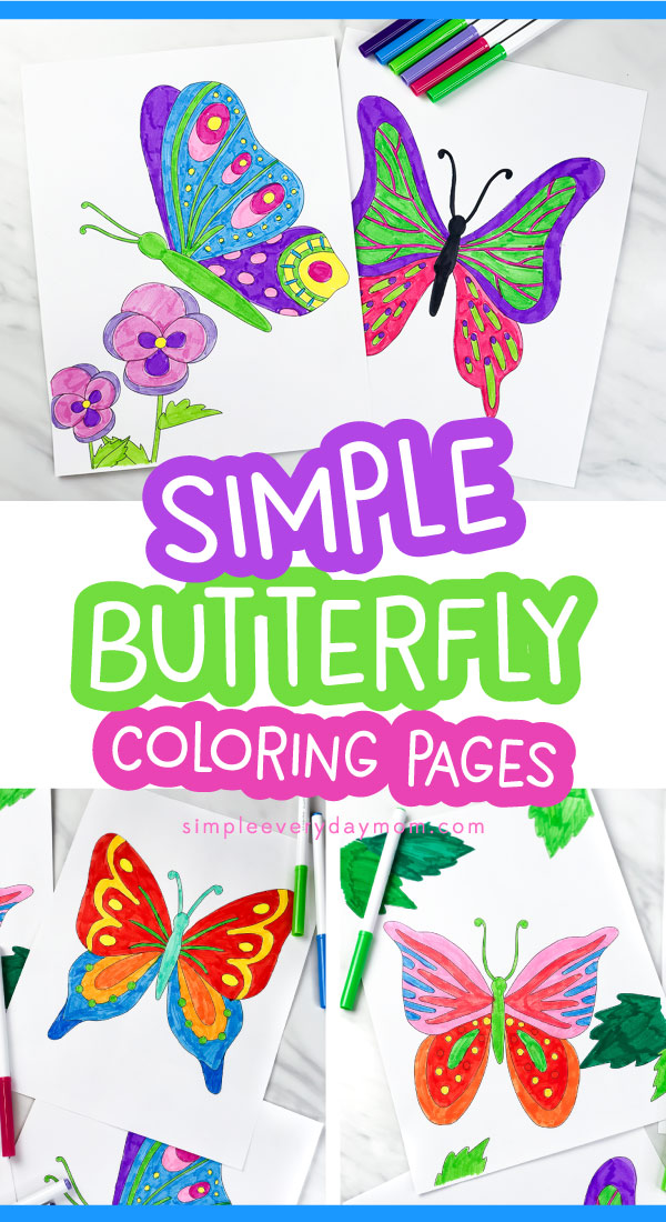 3 pictures of butterfly coloring pages