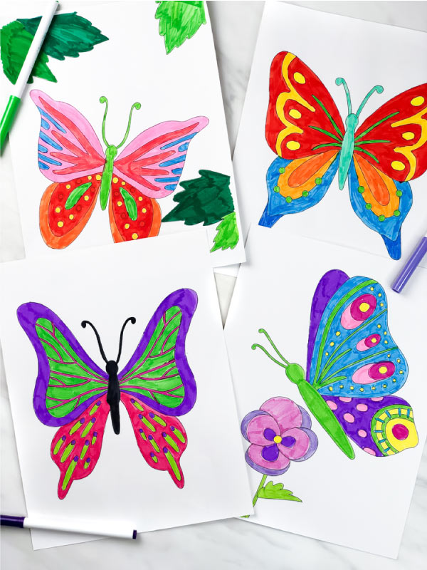 4 colored in butterfly coloring pages for kids