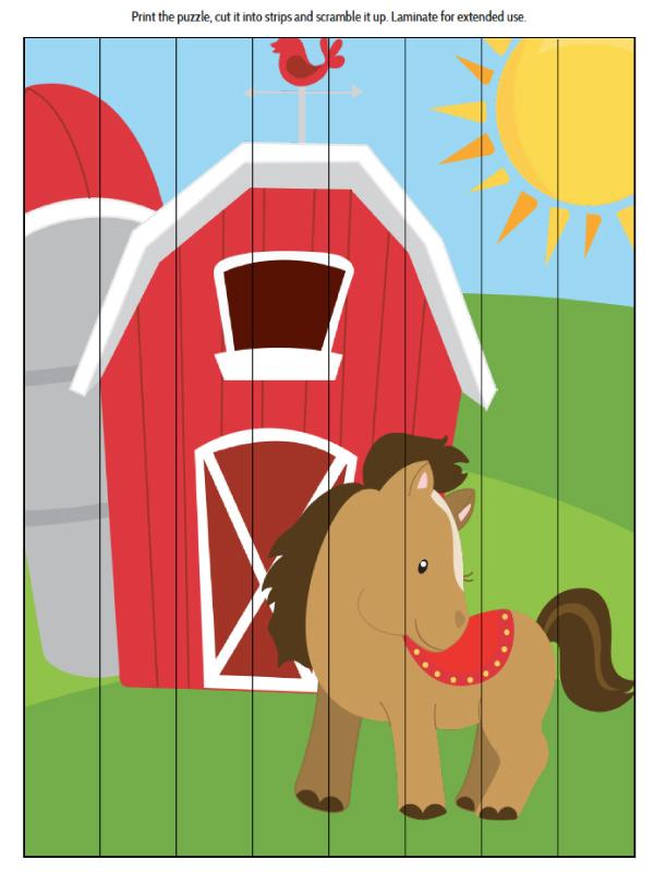 farm animal printable puzzle