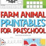 farm animal printable worksheet collage with the words farm animal printables for preschool