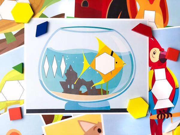 fish tangram puzzle mat
