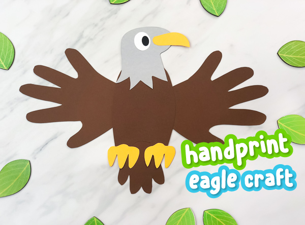 picture of bald eagle with handprint wings