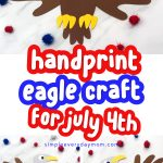 eagle paper craft with red white and blue writing
