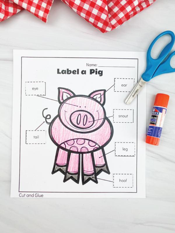 label a pig worksheet