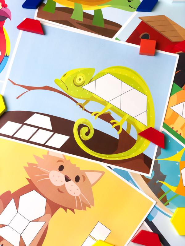 printable chameleon tangram mat