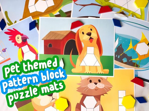 pet pattern block mats scattered on table