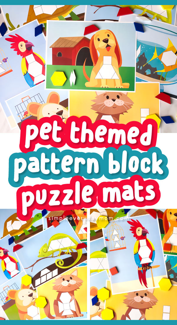 collage of animal pattern block mats