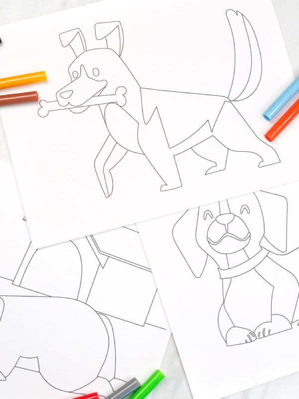 blank puppy coloring pages with markers